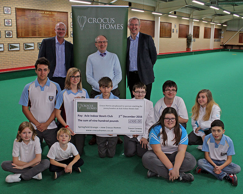 Crocus Homes sponsors coaching sessions for young players at Acle Indoor Bowls Club